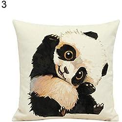 Lino Funda de almohada de lovely diseño de oso panda funda para cojín casa sofá coche Cafe Decor, Lino, ver imagen, 3