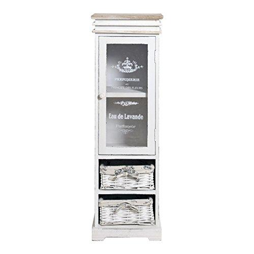 Rebecca srl mobile a colonna cassettiera vetrinetta plexiglass 2 cassetti 1 anta legno vimini bianco vintage shabby chic ingresso salone (cod. re4486)
