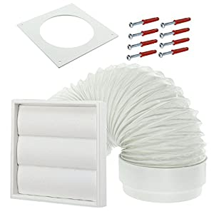 """SPARES2GO Exterior Wall Venting Kit for Indesit Tumble Dryers (White, 4"""" / 102mm) by SPARES2GO"""