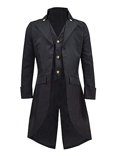 Pxmoda Herren Frack Steampunk Gothic Jacke Vintage Viktorianischen Langer Mantel Kostüm Cosplay Kostüm Smoking Jacke Uniform (L, ()