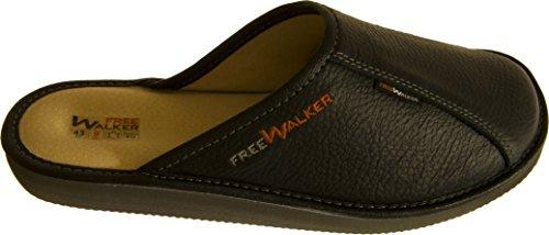 FreeWalker Herren Hausschuhe | 100% Echtes Leder (43, Schwarz, Leder) - Wolle Walker