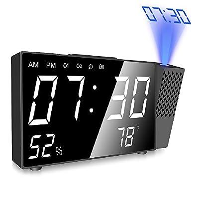 Réveil projecteur numérique Projection Horloge Alarme 4 in 1 FM Radio Réveil Digital avec Alarme Dual,Mesure de la Température,Alarme de Projection de FM,Écran LED 6.3 Pouces et PDF notice français par GRDE