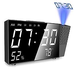Sveglia con Proiettore,Radiosveglia Digitale da Comodino con Proiettore,con Doppi Allarmi e FM Orologio, Volume…