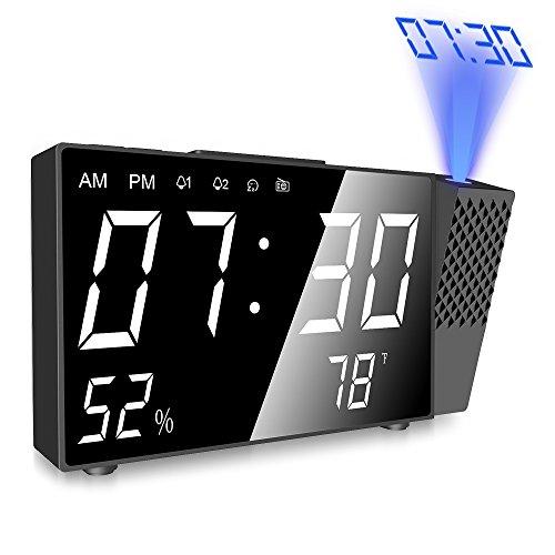 Despertador Proyector, Digital Proyección Relojes de Alarma, Radio Despertador Digital con Alarmas Dual, Medición de la Temperatura, Alarma de Proyección de FM y Pantalla LED de 6.3 Pulgadas.