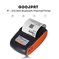 GOOJPRT PT-210 Mini Wireless Thermal Printer Portable 58mm Bluetooth Receipt Ticket Printer POS Compatible with iOS/Android/Windows Orange