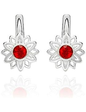 butterfly Mädchen Silber-Ohrringe Silber rot Swarovski Elements original Blume Schmuck-Beutel, originelle Geschenke...