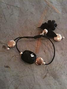 Corinne siltis - corinne siltis bijoux bracelet élastique noir,perle,étain argenté