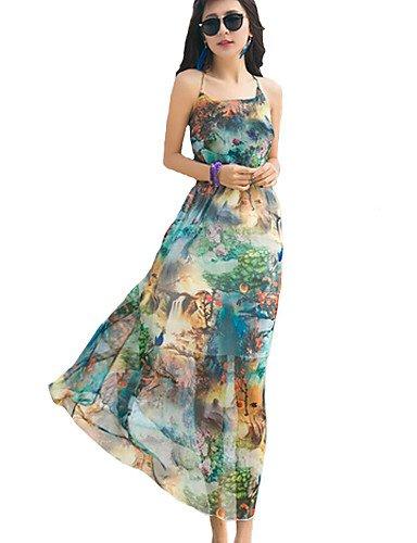 PU&PU Robe Aux femmes Mousseline de Soie / Swing Sexy / Bohème,Imprimé A Bretelles Maxi Polyester BLUE-S