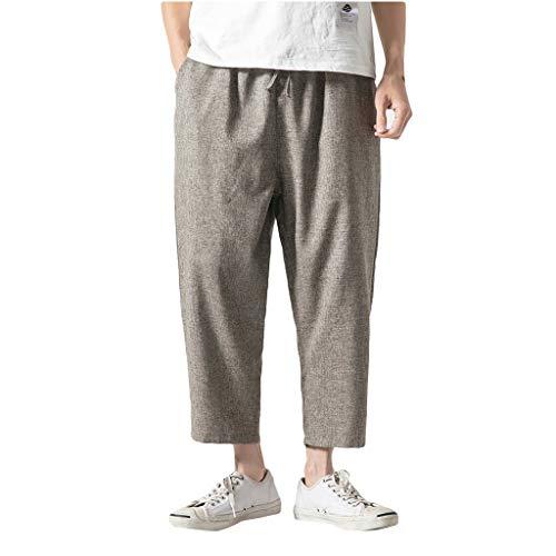 Leinenhosen für Männer Strandhose aus Leinen und Baumwolle, Lange & Kurze Hosen Herren Farbauswahl, Lässige Freizeithose mit Seitentaschen -