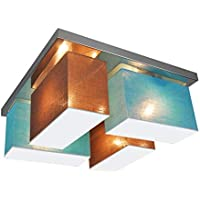 Deckenlampe Deckenleuchte mit Blenden BLEJLS44TUWED Leuchte Lampe 4-flammig Holz Kinderzimmer Wohnzimmerlampe Schlafzimmerlampe K/üche Lampe LED-geeignet T/ürkis//Wei/ß