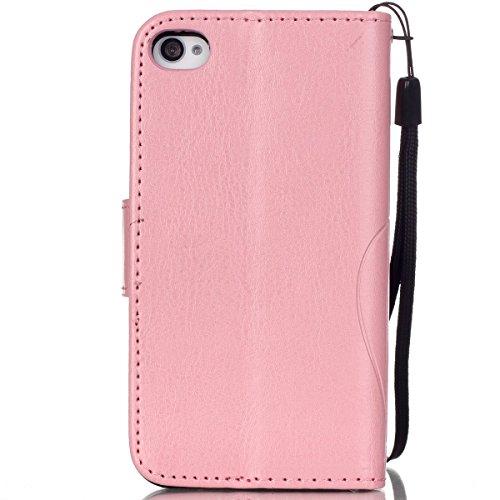 iPhone 4S Hülle,iPhone 4S Case [Scratch-Resistant],iPhone 4S Hülle, ISAKEN iPhone 4S Ultra Slim Perfect Fit Kreativ Design Liquid Fließen Flüssig Schwimmend Love Herz der Liebe Bling Luxus Shiny Glanz Blume Schmetterling Pink