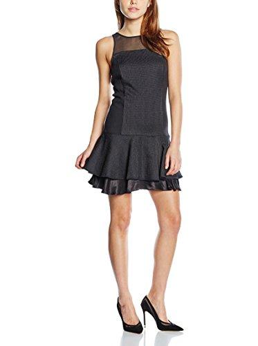 MEXX Abendkleid im Materialmix Damen Rundhals Abendmode MX3002144 Schwarz