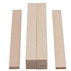 RDEXP 3.5x10x100mm Smooth Square Sticks for DIY Crafts Carving Bamboo Wood Model Building Construction Set of 10