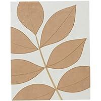 Premier Housewares Leaf Wall Art, 50 x 40 cm - Cream/Caramel Faux Suede
