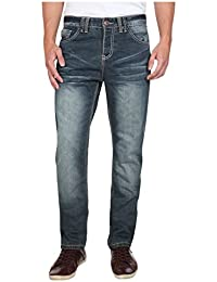 98-86 Herren Jeans Straight Leg Denim Passe Used 5-Pocket