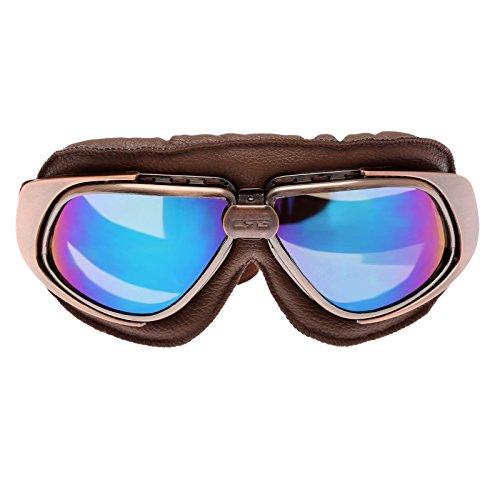 Preisvergleich Produktbild Retro Vintage Sonnenbrille Schutzbrille Pilot Motorrad Sport für Harley - Bunt Glas