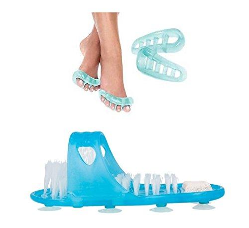 Wellness Badeschuh mit Bürste und Bimsstein inkl. 1 Paar GEL Zehenspreizer - wohltuende Fußhygiene und Fußpflege in Einem (Wellness Schuh + Zehenspreizer)