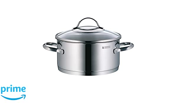 Silit Pot /Ø 24 cm Approx 4.1L Achat Pouring Rim Glass Lid Stainless Steel Polished Suitable for Induction Hobs Dishwasher-Safe