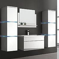 Home Deluxe | Badmöbel Set | Cuxhaven | Weiß | Hochglanz | Inkl. Waschbecken