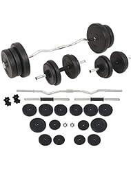 vidaXL Juego de Pesas 30kg Barra y Mancuernas Fitness Musculación Gimnasio Gym