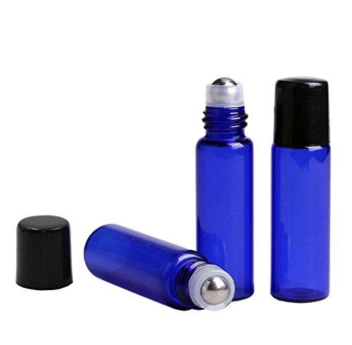 kobaltblau Glas Roller Flaschen 10 PCS leer nachfüllbar ätherisches Öl Parfüm auf Rolle Flaschen Container Kosmetik Liquid Metal Roller Ball Glas Flaschen mit schwarze Kappen (5ml)