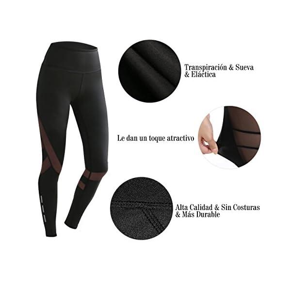 Mujer Pantalones Deporte Leggings Adelgazante Gym con Malla para Running  Yoga Fitness ... 9032ce407a84c