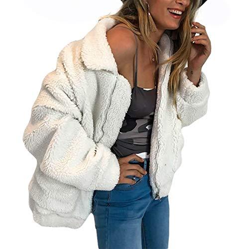 GWELL Damen Plüschjacke Nachgemachte Kaschmir Warme Teddy-Fleece Jacke Mantel mit Reißverschluss für Herbst Winter Beige 2XL