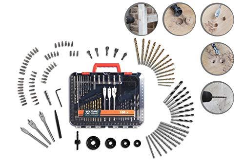 WOLFGANG Bit- Satz für Bohrer, für Twist-, Holz-, Fräs, Stein- und Betonbohrer, Lochsäge, Aufsätze Set Carbon-stahl für Akkuschrauber/Bohrmaschinen, universal, 100 Teile