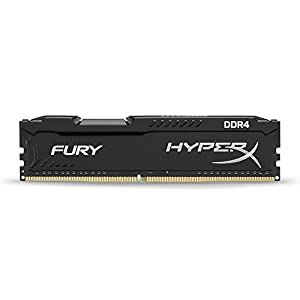 HyperX HX421C14FB/4 Fury Black Series 4 GB 2133 MHz DDR4 CL14 DIMM Memory Module (Sky Lake Compatible), Black