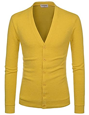 NEARKIN - Gilet - Moderne/ajusté - Solid - Manches Longues - Homme X-Large - jaune - Large
