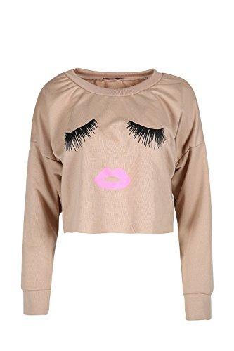 Oops Outlet Damen Freizeit Ausschnitt Locker Schlabber Wimpern Lippen Bedruckt Top Kleid Stein