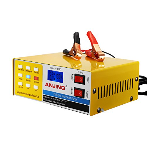 GOZAR Caricabatteria Auto Automatico Intelligente 250V 12/24V 200Ah Pulse R