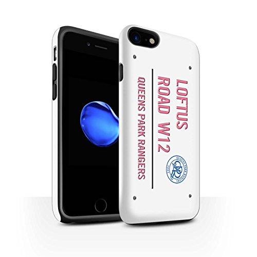 Offiziell Queens Park Rangers FC Hülle / Matte Harten Stoßfest Case für Apple iPhone 7 / Schwarz/Gold Muster / QPR Loftus Road Zeichen Kollektion Weiß/Rosa