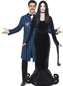 Paar Herren Damen Morticia Gomez morbide Geliebte dunkel Duke Adams Familie Halloween TV Film Kostüme Outfit - Schwarz, Ladies UK 12-14 & Mens Medium