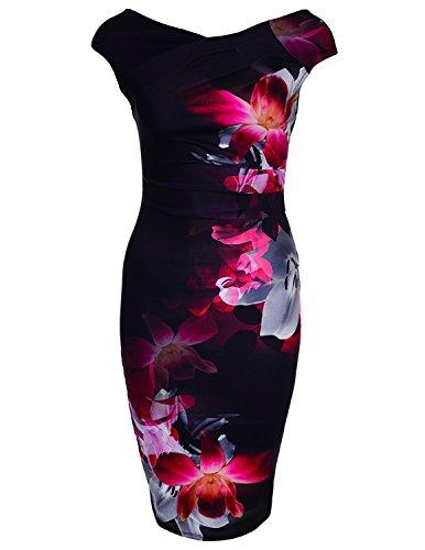 Modetrend Femme Vintage Manches Court Floral Imprimé Peplum Travail Formel d'affaires Crayon Robe Rouge