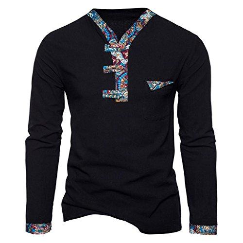 VENMO Herren Langarmshirt rundhals mit Knopfleiste aus Baumwolle Männer Retro Casual Patchwork drucken T-Shirt Nationaler Wind Bluse Sweatshirt Pullover Pulli Sweats Motiv Langarmshirt (S, Black)