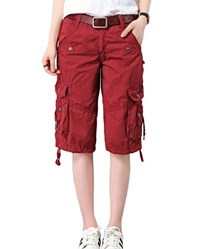 Minetom Bermuda Cargo Shorts Damen Knielang Sommer Kurze Hose Frauen Lose Stretch Boyfriend Knopfleiste Tasche Stoffhose Leinenhose Freizeithose Große Größen Weinrot X-Small