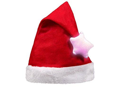 Alsino Weihnachtsmütze Nikolausmütze Bommel Rot mit Leuchtstern -