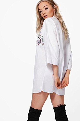 blanc Femmes Cait Robe Chemise Brodée À Manches Larges Blanc