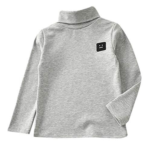 MRULIC Langärmliges Sweatshirt des Kind Baby Stehkragen Jungen-Oberteile T-Stück Pullover Sweatshirt(Grau,Höhe:125-130CM)