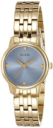 GUESS Women's Quartz Watch with Blue Dial Analogue Display and Gold Stainless Steel Bracelet W0687L2