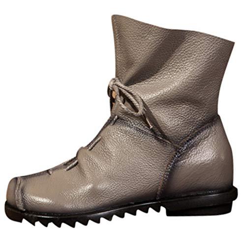 (Yvelands Damen Retro Leder Stiefeletten Warme Lederstiefel Low Heel Stiefel Stiefel)