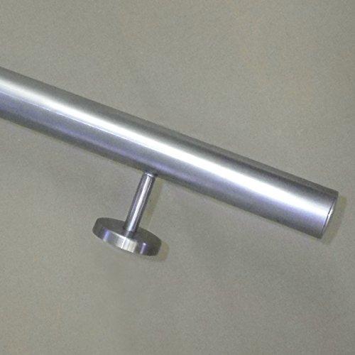 Edelstahl Handlauf Ø42,4mm mit geraden Handlaufhaltern/Brüstung (aus einem Stück/ungeteilt) (050cm 2 Edelstahl-Halter)