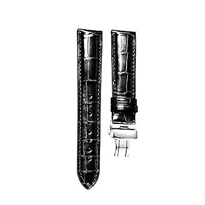 MUEN Correa de Piel de Cocodrilo con Cierre de Despliegue,18mm-24mm Correa de Repuesto Caimán Marrón Clásico Negro para Hombres Mujeres