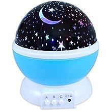 Edealing (TM) Lámpara romántica llevada de la lámpara Girando la estrella estrellada Luna de la rotación del cielo Iluminación de la noche Lámpara del proyector Luces durmientes para los niños Usb que carga (azul)