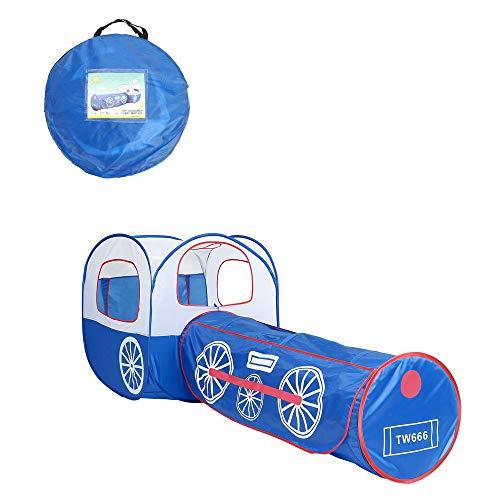 ADATEN Tenda da Gioco per Bambini Strisciando Tunnel Piscina da Biliardo Fumetto Blu Locomotiva Tenda Casetta da Gioco Castello Pop up Portatile Pieghevole Sala di intrattenimento con Custodia