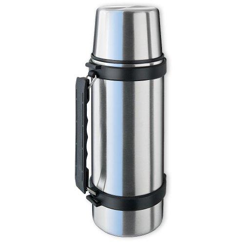 Isosteel VA-9553Q - Termo de vacío con vaso, asa y sistema de apertura y cierre rápido, 1 L, acero inoxidable 18/8, color plateado y negro