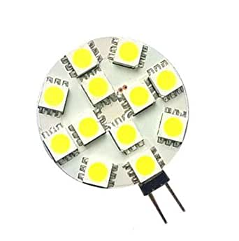 Auraglow 2w 12x LED Flat G4 Warm White Light Bulb, 20w Equivalent