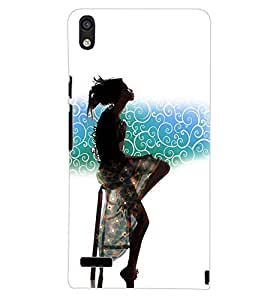 PrintDhaba STYLISH GIRL D-6958 Back Case Cover for HUAWEI ASCEND P6 (Multi-Coloured)