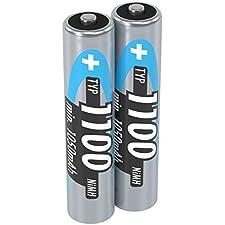 ANSMANN Micro AAA Batteria ricaricabile 1100mAh NiMH - Batteria professionale ad alta capacità per fotocamere digitali (confezione da 2) - Batterie